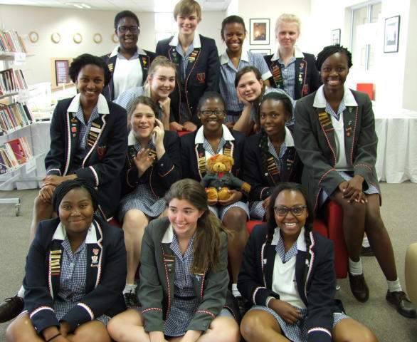 Our final year matric Resource Monitor group gather before a farewell tea for them in the iCentre